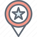 favorite location, location pin, location pointer, map position, star icon