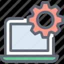 cog, cogwheel, laptop configure, laptop settings, settings icon