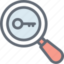 magnifier, magnifying glass, password, search, search keyword icon