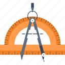 compass, design, drawing, geometry, graphic, ruler, tool icon