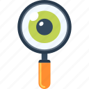 explore, eye, glass, magnifying, optimization, search, seo icon