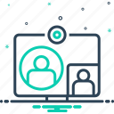 computer, conference, online, technology, videocall, videoplay, webcast icon