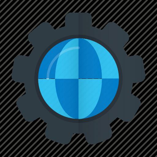 cog, globe, optimization, seo, web icon
