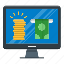earn, freelance, online, payment icon