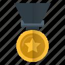 achievement, gold, medal, reward, winner