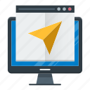 landing, mail, marketing, message, page, send icon