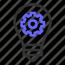 bulb, gear, ideas, optimization, seo, startup icon