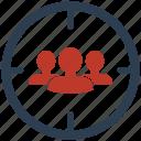audiences, seo, target icon