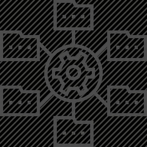 Data management, document, file, folder, gear, internet, network icon - Download on Iconfinder