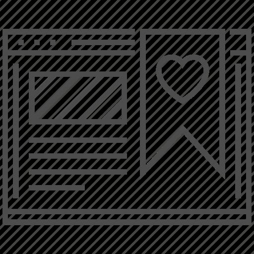 bookmark, favorites, heart, like, online, seo, web icon