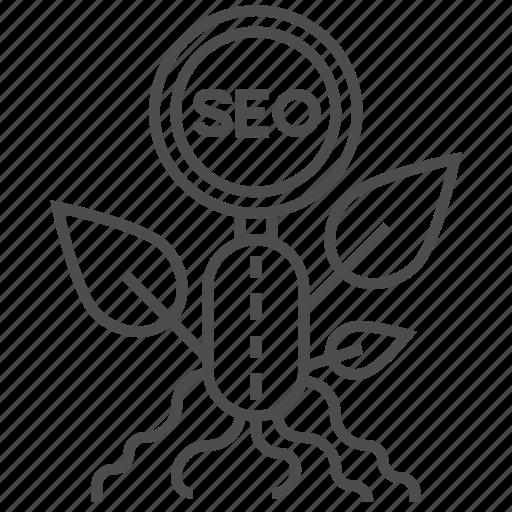 Business, leaf, magnyfing, marketing, optimization, organic seo, seo icon - Download on Iconfinder