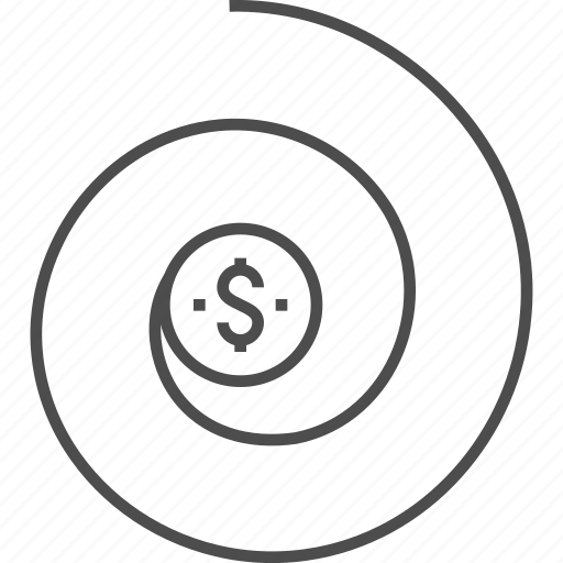 Business, coin, dollar, finance, money, return on investment, spiral icon - Download on Iconfinder
