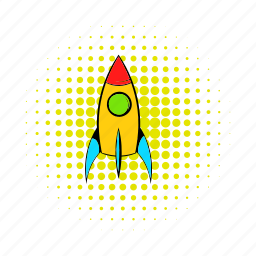 comics, fire, rocket, science, ship, space, spaceship icon