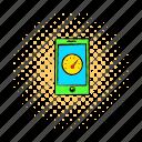 clock, comics, display, mobile, phone, screen, smartphone