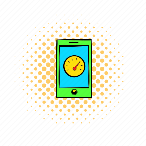 clock, comics, display, mobile, phone, screen, smartphone icon