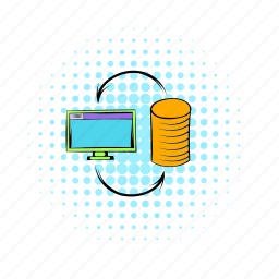 business, coin, comics, computer, money, monitor, technology icon