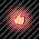 comics, finger, good, hand, success, thumb, up