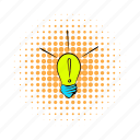 bulb, comics, energy, exclamation, idea, light, lightbulb icon