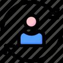 account, development, seo, sync, update, user icon