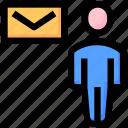 developer, email, envelope, letter, seo, user, web icon