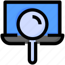 laptop, magnifier, search, seo, website icon