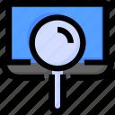 laptop, magnifier, search, seo, website