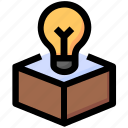 box, bulb, idea, package, seo, web