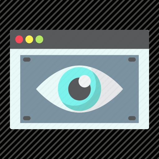 browser, development, eye, page, seo, visibility, web icon