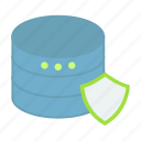 data, database, development, protection, seo, server, shield icon