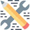 business, marketing, optimization, pencil, seo, services, wrench icon