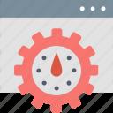 efficiency, gear, improve, internet, optimization, speed, webpage icon