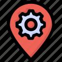 gear, location, pin, pointer, seo, setting