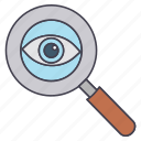 eye, glass, magnifying, zoom icon