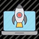boost, laptop, rocket icon