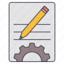 document, gear, pencil, setting icon