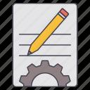 document, gear, pencil, setting