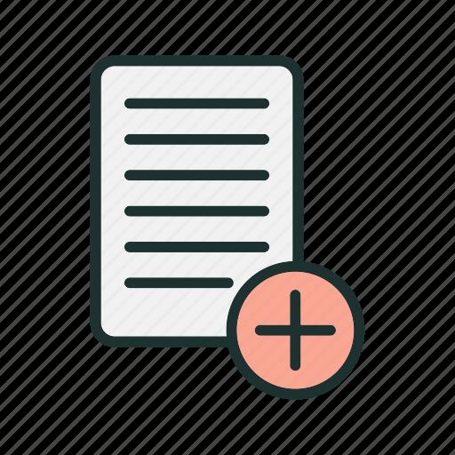 add, document, file, paper, plus icon