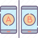 a, b, testing