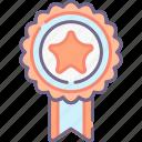 award, badge, page, range icon