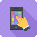 app, finger, mobile, phone, store, touch icon