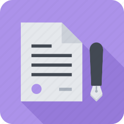 agreement, contract, document, paper, pen, signature icon