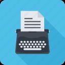 copywriting, paper, text, typewriter, writer icon