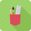 architect, brush, designer, pencil, pocket, ruler icon