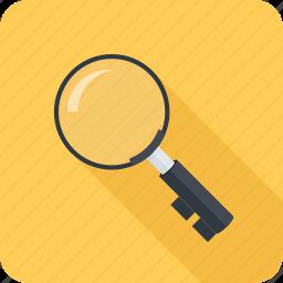 key, keywords, magnifier, search, seo icon