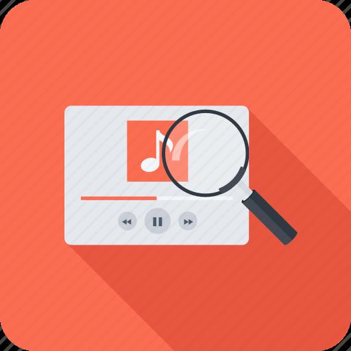 magnifier, music, search, seo icon