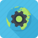 cogwheel, network, optimization, planet icon