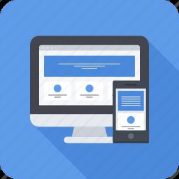 design, mobile, phone, responsive, site, web icon