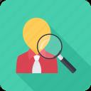 headhunter, magnifier, recruitment, search, staff