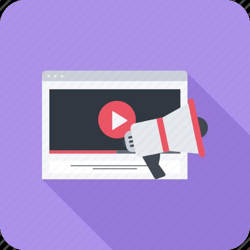 marketing, megaphone, promotion, video icon