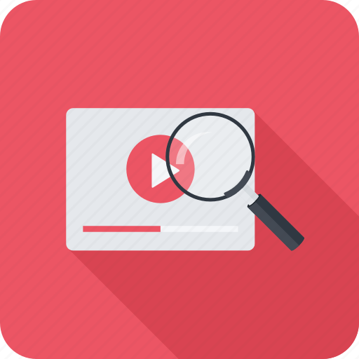 magnifier, search, seo, video icon